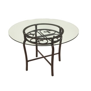Somette Lizzy Brown Glass Traditional Dining Table - Grey