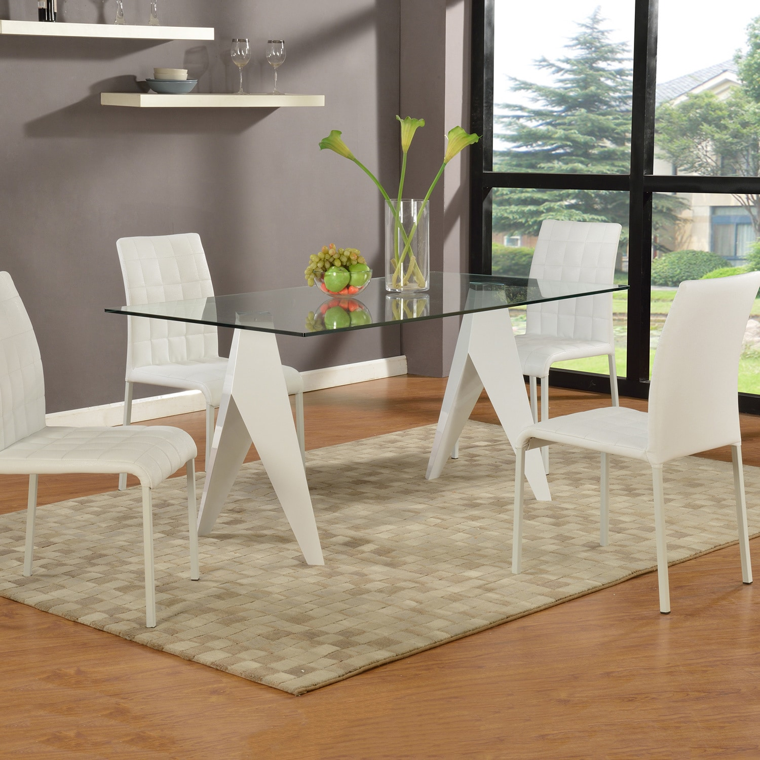 Somette Ursula Gloss White 63-inch Glass Dining Table (Ur...