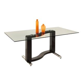 Somette Faith Black/ Chrome 71-inch Rectangular Glass Dining Table
