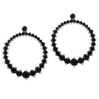 Sterling Silver 17 1/3ct TGW Black Spinel Circle Dangle Earrings