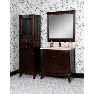 Country Style 36-inch Bellagio Beige Marble Top Single Sink 4-piece Bathroom Vanity Set