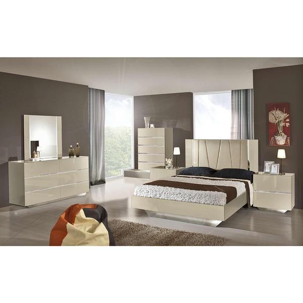 Modrest Luxor Modern Beige Lacquer Italian Bedroom Set