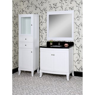 Country Style 36-inch Black Granite Single Sink White Finish 4-piece Bathroom Vanity Set