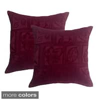 Pandora Jaquard Leaves 16-inch Throw Pillow (Set of 2)