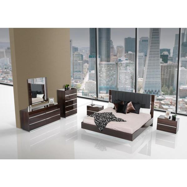 Lacquer Bedroom Furniture: Shop Modrest Luxor Modern Ebony Lacquer Bedroom Set