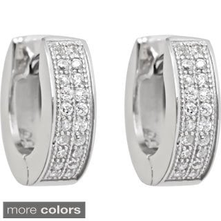 Decadence Sterling Silver Cubic Zirconia 2-strand Micropave Hoop Earrings