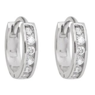 Decadence Sterling Silver Single-strand Cubic Zirconia Micropave Hoop Earrings