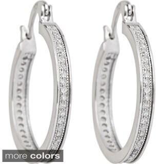 Decadence Sterling Silver Round Cubic Zirconia Hoop Earrings