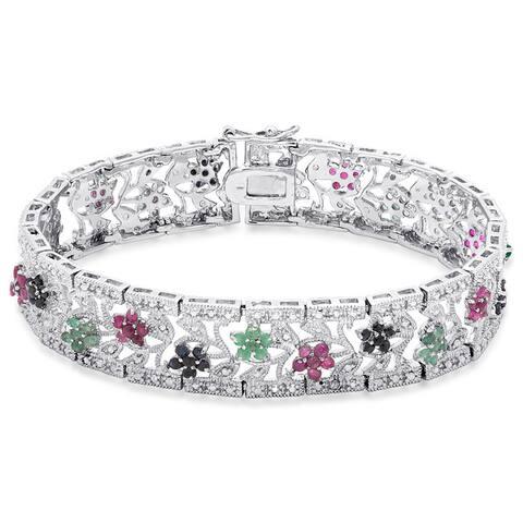 Dolce Giavonna Silver Overlay Multi Gemstone Flower Design Bracelet