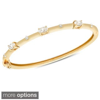 Molly and Emma Goldplated Sterling Silver Cubic Zirconia 3-stone Bangle