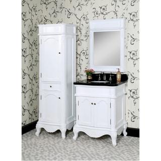 Traditional Style 30-inch Black Granite Single Sink White Finish 3-piece Bathroom Vanity Set