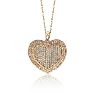 Suzy Levian Mother's Day 'Loving Heart' Cubic Zirconia Sterling Silver Pendant