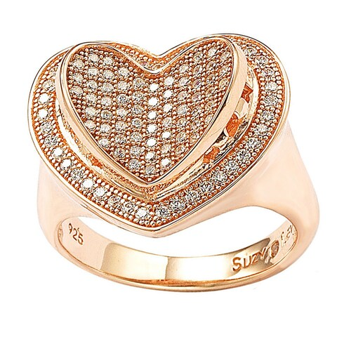Suzy Levian Sterling Silver Cubic Zirconia Heart Ring