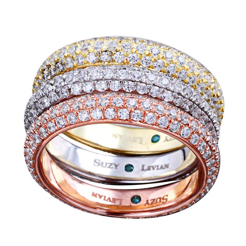 Suzy Levian Bridal 3-piece Tri-tone Eternity Rings Micro-...