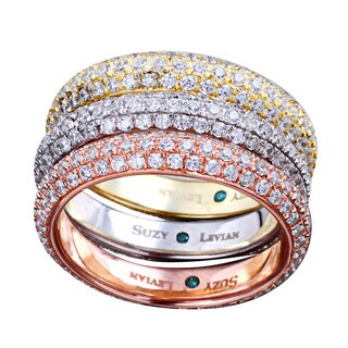 Suzy Levian Bridal 3-piece Tri-tone Eternity Rings Micro-pave Cubic Zirconia Sterling Silver Bands