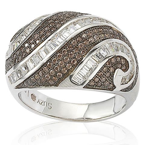 Suzy Levian Sterling Silver Pave and Channel-set White and Brown Cubic Zirconia Ring