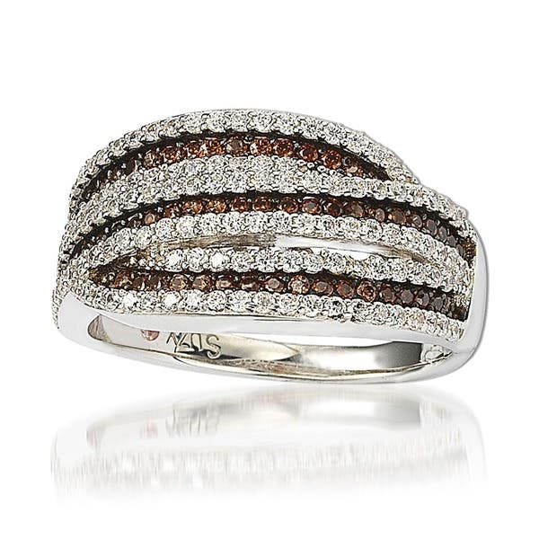 Shop Suzy L Sterling Silver White And Chocolate Cubic Zirconia