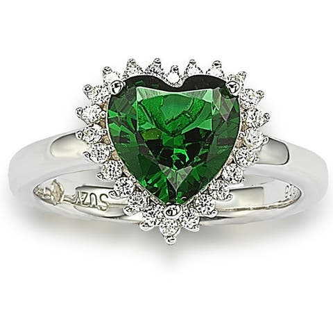 Suzy L. Sterling Silver Heart-shaped Green Cubic Zirconia Ring