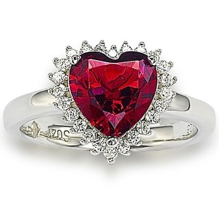 Suzy Levian Valentine's Day Sterling Silver Cubic Zirconia Engagement Ring