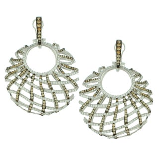 Suzy Levian Sterling Silver White Cubic Zirconia Criss-cross Round Big Dangle Earrings (2 options available)