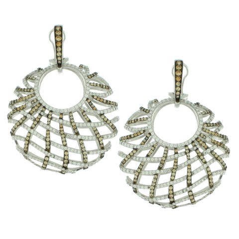 Suzy L. Sterling Silver White Cubic Zirconia Criss-cross Round Big Dangle Earrings