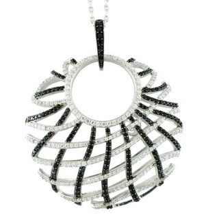 Suzy Levian Sterling Silver Cubic Zirconia Criss-cross Pendant Necklace (2 options available)