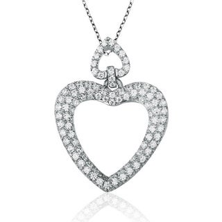 Suzy Levian Mother's Day 'Double Heart' Cubic Zirconia Sterling Silver Pendant