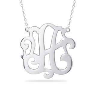Sterling Silver Calligraphy Initial Pendant Necklace