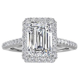 14k White Gold 3/4ct TDW Halo Emerald Diamond Engagement Ring (H-I, VS1-VS2)