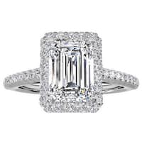 14k White Gold 3/4ct TDW Halo Emerald Diamond Engagement Ring