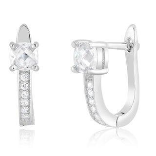 Sterling Silver Square-cut Cubic Zirconia Saddleback Earrings