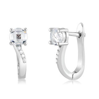 Sterling Silver Round-cut Cubic Zirconia Huggie Earrings