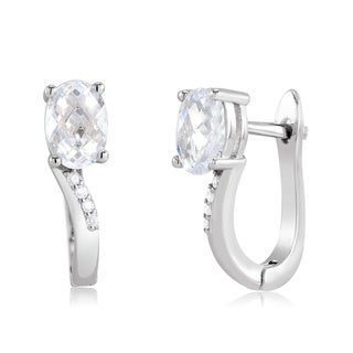 Sterling Silver Oval-cut Cubic Zirconia Huggie Earrings
