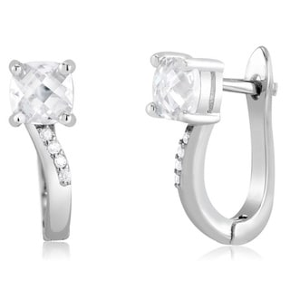 Sterling Silver Square-cut Cubic Zirconia Earrings