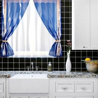 SomerTile 3.75x 3.75-inch Curve Square Black Olive Ceramic Wall Tile (Case of 9)