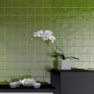 SomerTile 3.75x3.75-inch Curve Square Green Kiwi Ceramic Wall Tile (9 tiles/1 sqft.)