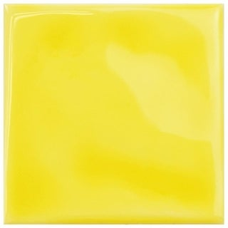 SomerTile 3.75x 3.75-inch Curve Square Yellow Lemon Ceramic Wall Tile (Case of 9)
