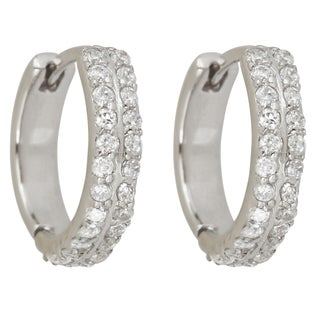 Decadence Sterling Silver 2-strand Cubic Zirconia Micropave Hoop Earrings