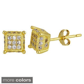 Decadence 18k Gold-plated Sterling Silver Cubic Zirconia 3-row Square Micropave Stud Earrings