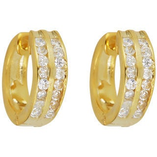 Gold Plated Sterling Silver 2-row Cubic Zirconia Hoop Earrings