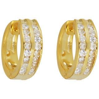 18k Gold-plated Sterling Silver 2-row Cubic Zirconia Hoop Earrings