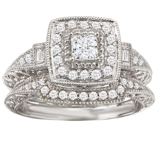 Avanti 14k White Gold 3/5ct TDW Vintage Halo Diamond Bridal Ring Set (G-H, SI1-SI2)