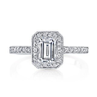 14k White Gold 7/8ct TDW Vintage Halo Emerald Diamond Engagement Ring
