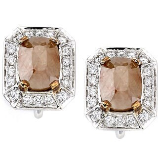 Diamonds for a Cure 18k White Gold Cushion Pink Fancy Diamond Stud Earrings