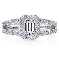 14k White Gold 1ct TDW Diamond Split Shank Halo Engagement Ring