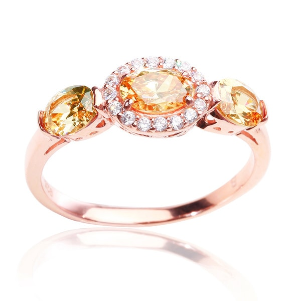 Blue Box Jewels Rose Gold-plated Sterling Silver Champagne Cubic Zirconia Ring