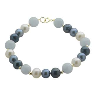 Pearls For You 14k Yellow Gold Freshwater Pearl and Aquamarine 7.5-inch Bracelet (7-7.5 mm)|https://ak1.ostkcdn.com/images/products/9765966/P16936594.jpg?impolicy=medium