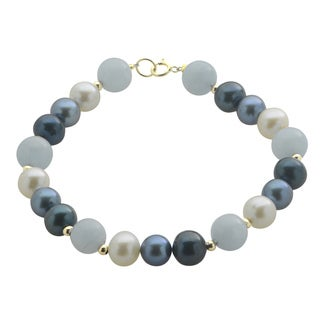 Pearls For You 14k Yellow Gold Freshwater Pearl and Aquamarine 7.5-inch Bracelet (7-7.5 mm)