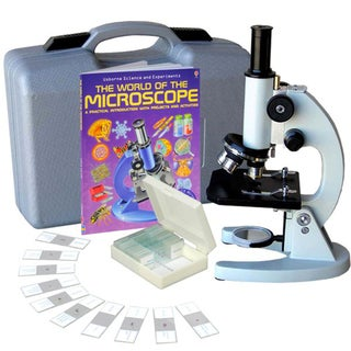 AmScope 40x-1000x Student Metal Compound Microscope with ABS Case and 25-piece Specimens and Book