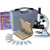 AmScope 40x-1000x Metal Frame Student Microscope with ABS Case and 100-piece Specimens and Book